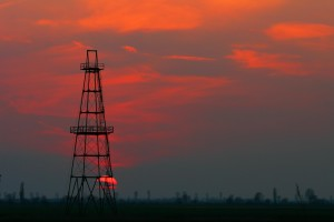 abandoned oil well at dusk